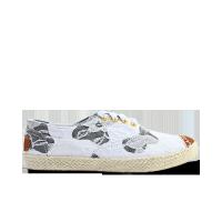 日本款设计师蕾丝奶牛黑白麻底鞋