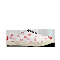 日本款设计师蕾丝红色波点麻底鞋